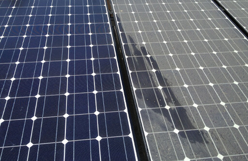 clean vs. dirty solar panels