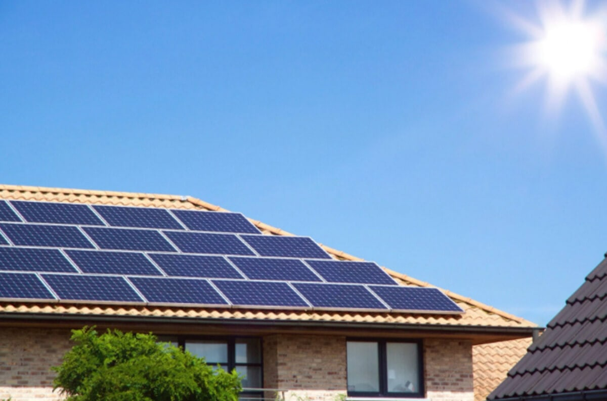solar installation tile roof and sunshine